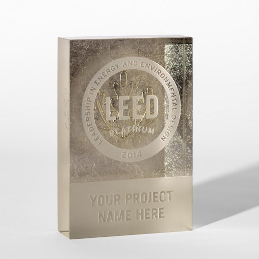 Platinum Leaf Crystal Dedication Plaque