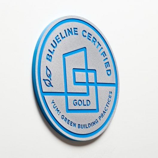"Blueline Certified - 8"" Brushed Aluminum Plaque with Blue Paint"