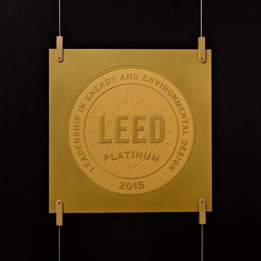 Cable Suspension Gold Anodized LEED Plaque and Hardware System