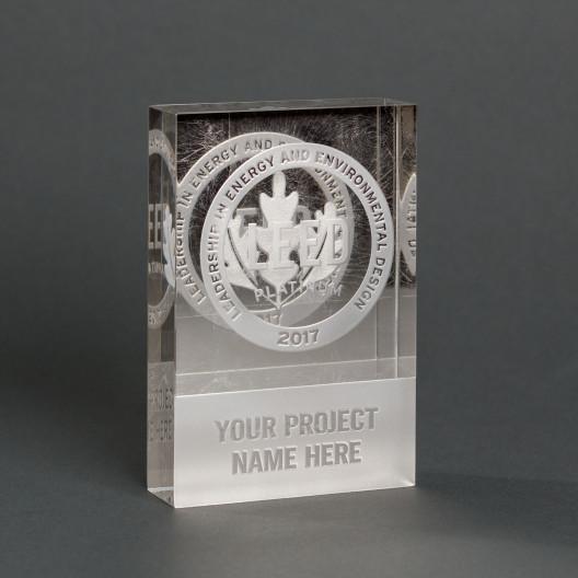 Mirrored Platinum Leaf Crystal Dedication Plaque
