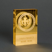 Mirrored Gold Leaf Crystal Dedication Plaque