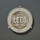 Mirrored Platinum Leaf Glass Plaque