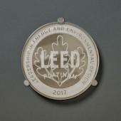 Mirrored Platinum Leaf Glass Plaque