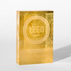 Gold Leaf Crystal Dedication Plaque