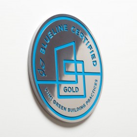 "Blueline Certified - 8"" Polished Aluminum Plaque with Blue Paint"